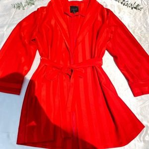 Dynamite Red Satin Blazer Tie Waist Stipes